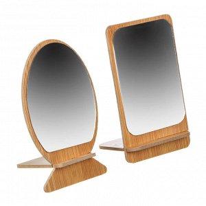 Зеркало настольное, стекло, МДФ, 8,3х13,5см, 2 дизайна