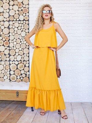Желтый длинный сарафан с воланами