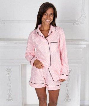 Розовая пижама в горошек с рубашкой на пуговицах