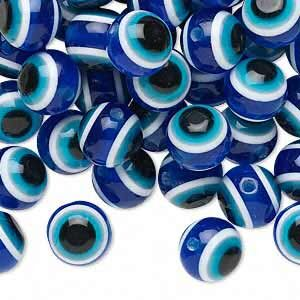 Бусина акриловая, 10мм, полосатая, сине-голубая. Цена за 1 шт.