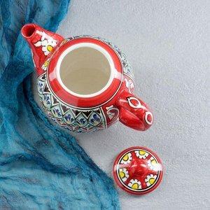 Чайник фарфоровый Риштан, 1,25л Накша красная