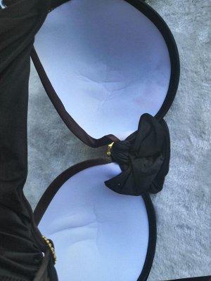 Купальник Коричневый. Брак на доп.фото. Замятые чашки. Выправляются над паром. Плюс небольшая полинялость, только на внутренней стороне чашки.