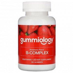 Gummiology, B Complex, жевательные таблетки для взрослых с комплексом витаминов В, натуральный клубничный вкус, 100 вегетарианских жевательных таблеток