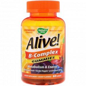 Nature&#x27 - s Way, Alive! Комплекс витаминов группы В, вишневый вкус, 60 жевательных таблеток