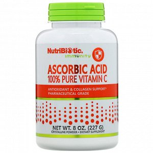 NutriBiotic, Аскорбиновая кислота, 100 % чистый витамин С, кристаллический порошок, 227 г (8 унций)