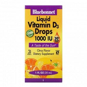 Bluebonnet Nutrition, Жидкий витамин D3, в каплях, натуральный цитрусовый вкус, 1,000 МЕ, 1 жидкая унция (30 мл)