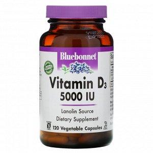 Bluebonnet Nutrition, Витамин D3, 5000 МЕ, 120 растительных капсул