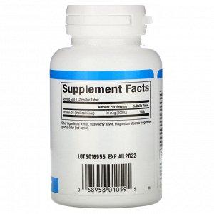 Natural Factors, Витамин D3, со вкусом клубники, 400 МЕ, 100 жевательных таблеток