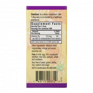 Bluebonnet Nutrition, Жидкий витамин D3 в каплях, натуральный аромат цитрусовых, 400 МЕ, 1 жидк. унц. (30 мл)