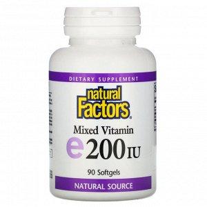 Natural Factors, Смесь витаминов E, 200 МЕ, 90 мягких таблеток