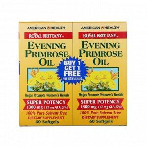 American Health, Royal Brittany, масло первоцвета вечернего, 1300 мг, 2 флакона, 60 мягких таблеток в каждом