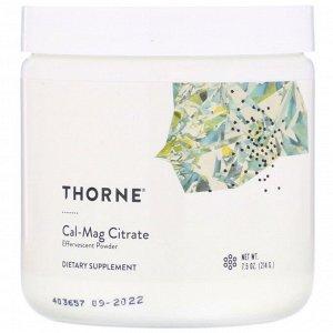 Thorne Research, Cal-Mag Citrate, шипучий порошок, 7,5 унций (214 г)