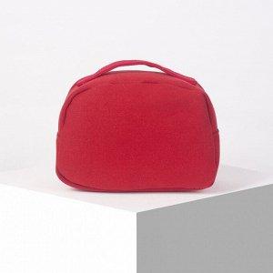 Косметичка-сундучок, отдел на молнии, цвет красный