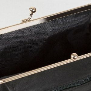 Косметичка-фермуар, отдел на рамке, наружный карман, цвет зелёный