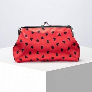 Косметичка-фермуар, отдел на рамке, цвет красный/чёрный