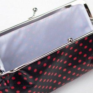 Косметичка-фермуар, отдел на рамке, цвет чёрный/красный