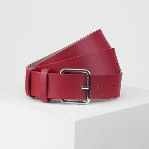 Ремень женский, ширина 3,5 см, пряжка металл, цвет красный