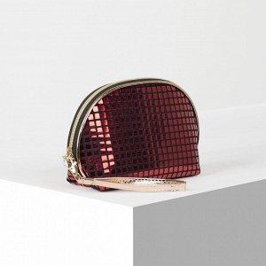 Косметичка-сумка Шик, 23*7*15, отд на молнии с ручкой, красный