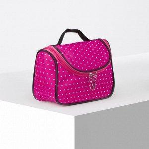 Косметичка-сумочка, отдел на молнии, цвет малиновый