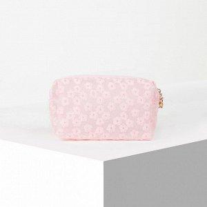 Косметичка ПВХ, отдел на молнии, с ручкой, цвет матовый розовый