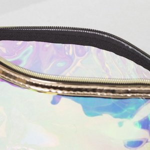 Косметичка ПВХ, отдел на молнии, с ручкой, цвет перламутр/золото