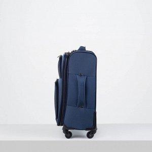 """Чемодан малый 20"""", отдел на молнии, 2 наружных кармана, кодовый замок, 4 колеса, цвет синий"""