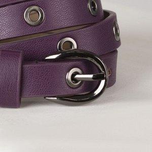Ремень женский, ширина - 1,5 см, пряжка металл, цвет фиолетовый