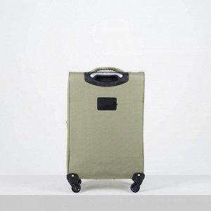"""Чемодан малый 20"""", отдел на молнии, наружный карман, 4 колеса, цвет зелёный"""