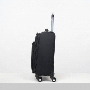 """Чемодан малый 20"""", отдел на молнии, наружный карман, кодовый замок, 4 колеса, цвет чёрный"""
