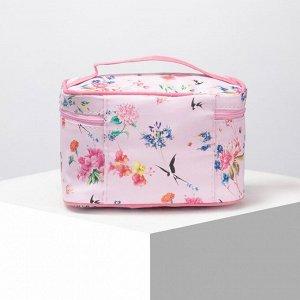 Косметичка-сумочка, отдел на молнии, с зеркалом, цвет розовый