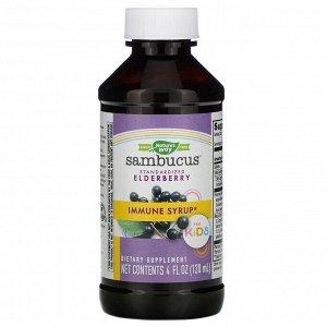 Nature&#x27 - s Way, Sambucus для детей, стандартизированный экстракт бузины, оригинальный сироп, 120 мл (4 жидких унций)
