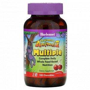 Bluebonnet Nutrition, Rainforest Animalz, препарат полного спектра для ежедневного приема, мультивитамин со вкусом вишни, 180 же