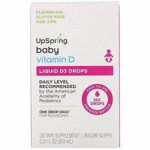 UpSpring, Для детей, витамин D3 в форме капель, витамин D, 9,13 мл (0,31 жидк. унции)