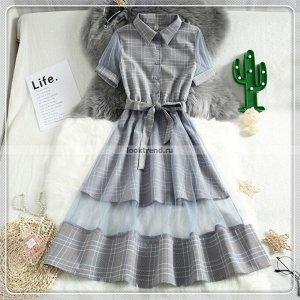 Серое платье в клетку с прозрачным подолом W-437