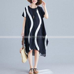 Чёрно-белое платье K-154
