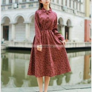 Красное вельветовое платье в мелкий цветочек W-435
