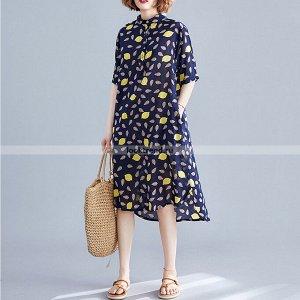 Синее хлопковое платье с лимонами K-152