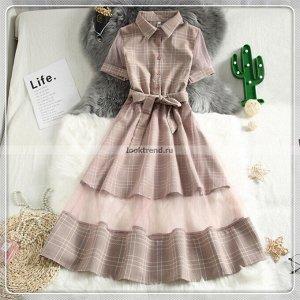 Розовое платье в клетку с прозрачным подолом W-438