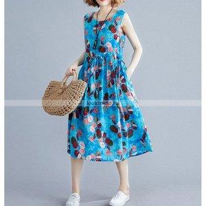 Голубое платье с листочками K-156