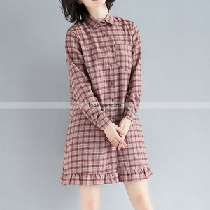 Платье-рубашка в клетку K-162