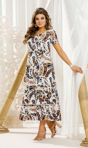 Платье Платье Vittoria Queen 11443 геометрический принт  Состав ткани: ПЭ-95%; Спандекс-5%;  Рост: 164 см.  Платье женское А-образного силуэта. По переду расположены нагрудные вытачки, вертикальный и