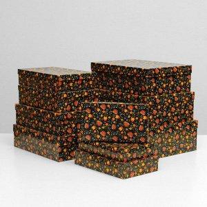 """Набор коробок 10 в 1 """"Народные узоры"""", 36,5 х 26,5 х 12 - 23 х 13 х 3 см"""