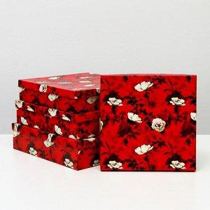 """Набор коробок 4 в 1 """"Белый шиповник"""", 32 х 32 х 8 - 26 х 26 х 5 см"""