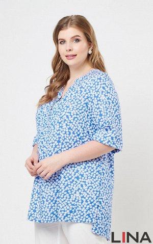Блуза цветочки  Домики , .Комфортная блуза-рубашка с рукавами средней длины, фигурным вырезом горловины на трёх пуговицах спереди. Низ модели ассиметричный, с удлинённой задней частью и разрезами по б