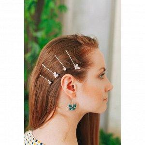 """Невидимка для волос """"Кварта"""" 5,5 см (набор 4 шт) две бабочки стразы, серебристые"""