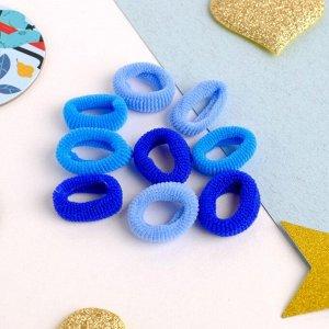 """Резинка для волос """"Махрушка"""" (набор 72 шт) 1,5 см, синие оттенки"""