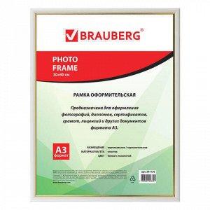 Рамка 30*40 см, пластик, багет 12 мм, BRAUBERG HIT2, белая с золотом, стекло, 391136