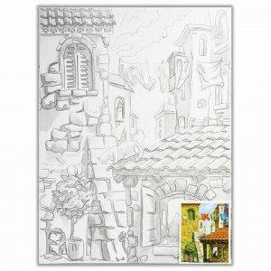 "Холст на картоне с контуром BRAUBERG ART ""CLASSIC"", ""Города"", 30х40 см, грунтованный, 100% хлопок, 190630"
