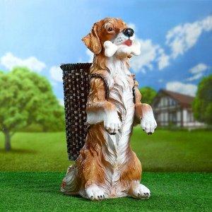 """Садовая фигура """"Собака с корзиной и костью в зубах"""" 60х44см"""