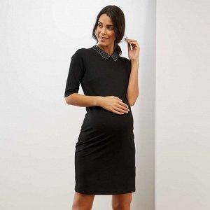 Платье с закругленным отложным воротничком для беременных - черный